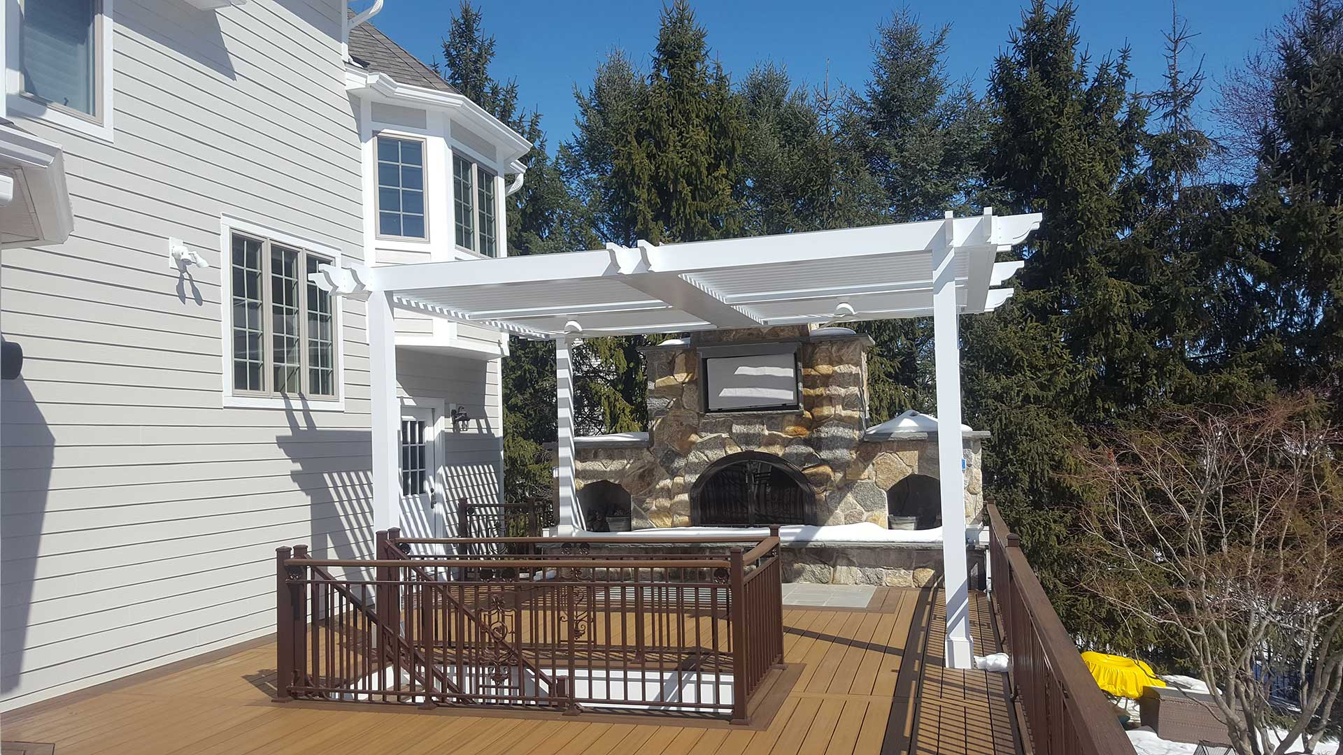 Wooden deck with outdoor stone oven